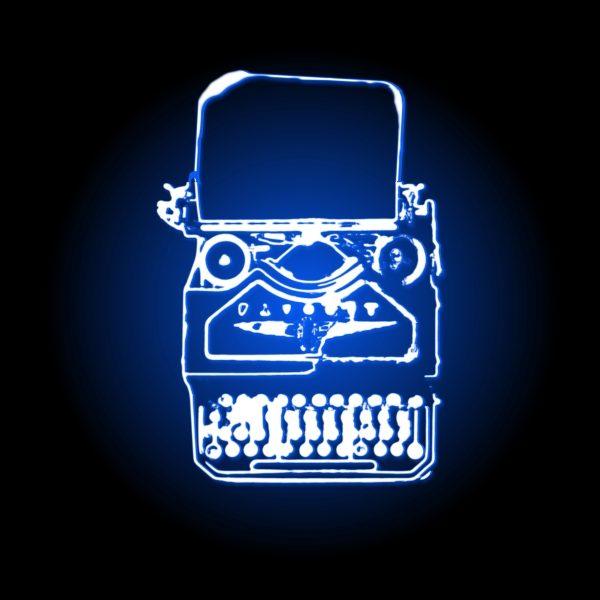 editing_neon typewriter_blue_woo